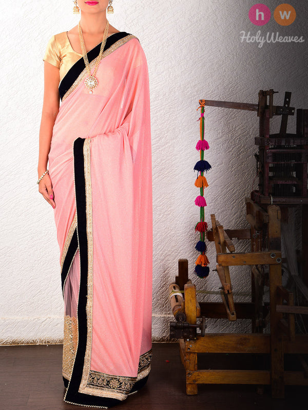 Peach Georgette  Embroidered Saree- HolyWeaves