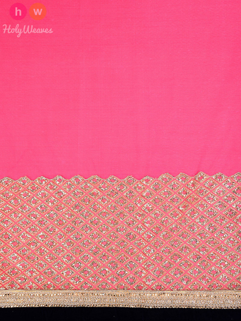 Pink Georgette  Embroidered Saree - HolyWeaves
