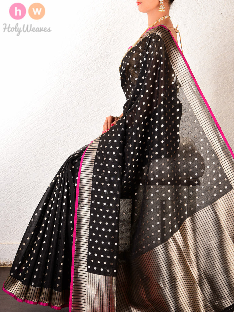 Black Linen Silk Cutwork Gold & Silver Polka Brocade Handwoven Saree - HolyWeaves