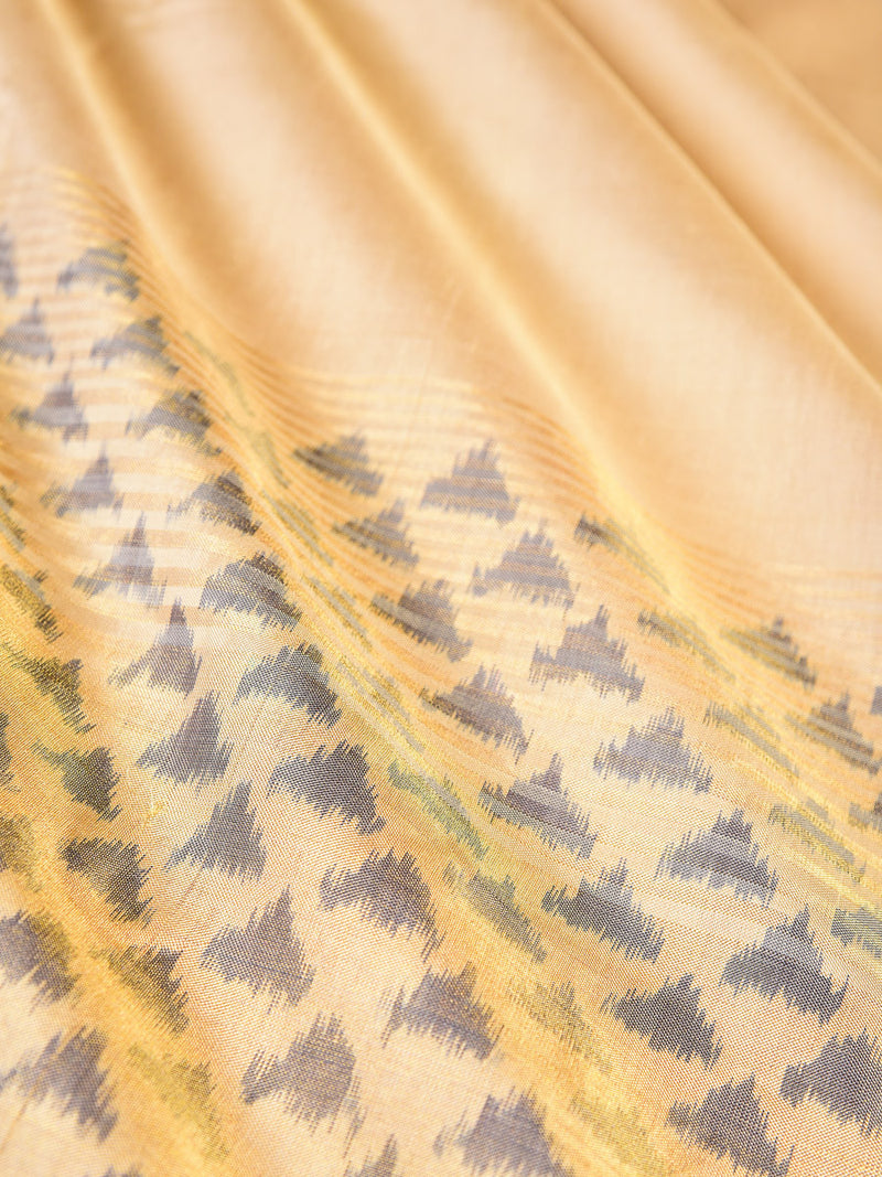 Cream Handwoven Silk Pochampally Saree - HolyWeaves