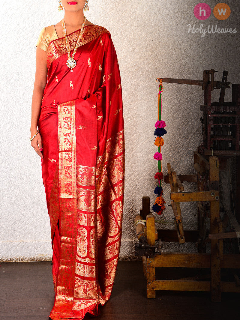Red Silk Hiran Baluchari Handwoven Saree - HolyWeaves