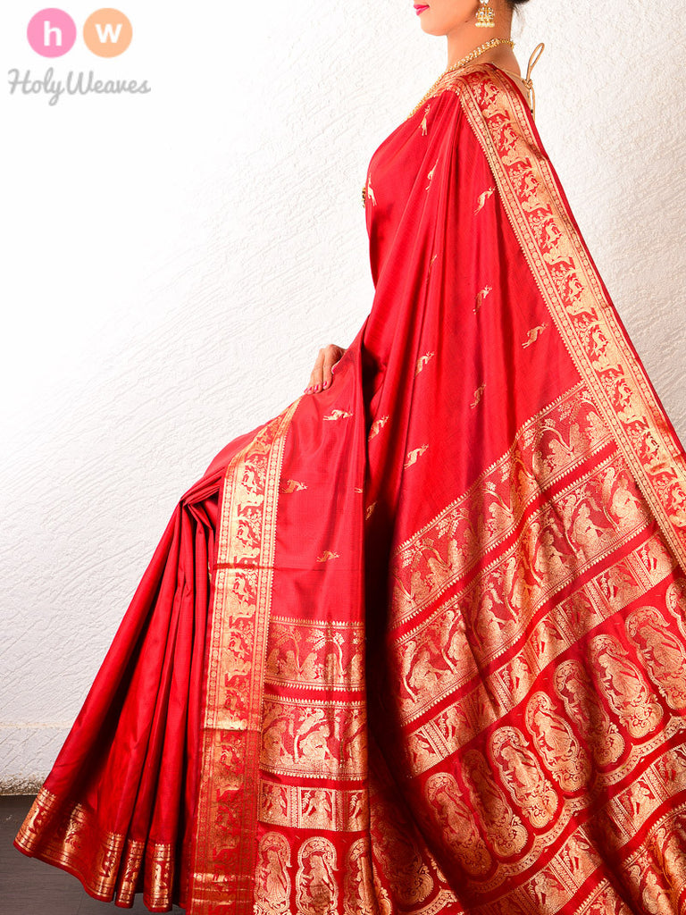 Red Silk Hiran Baluchari Handwoven Saree