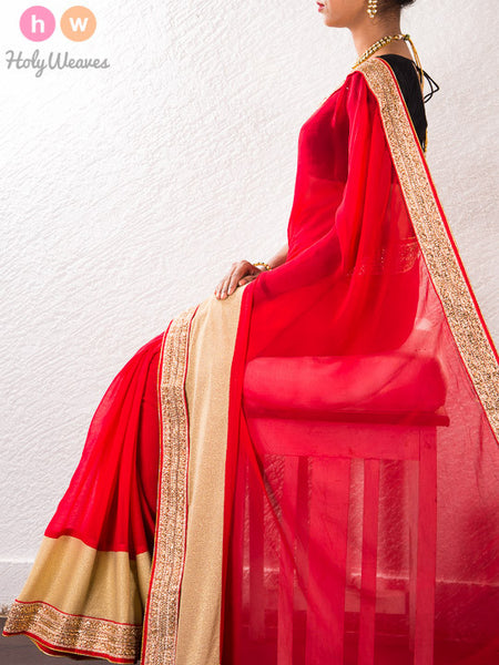 Red Georgette Embroidered Saree - HolyWeaves - 1