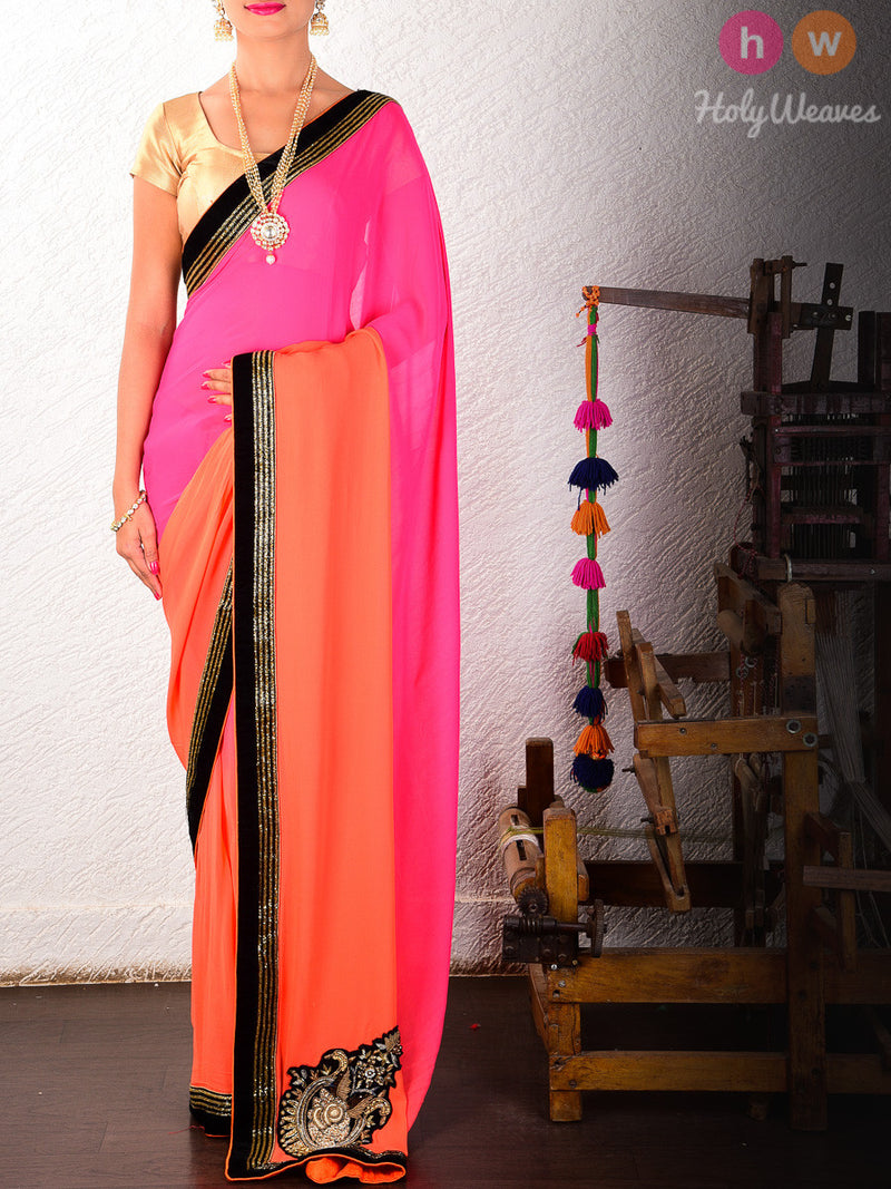 Pink-Orange Georgette  Embroidered Saree - HolyWeaves