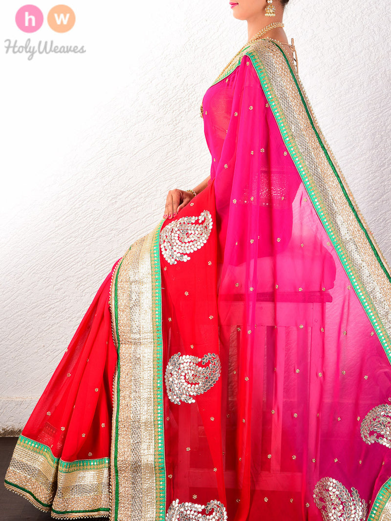 Pink-Red Georgette  Embroidered Saree - HolyWeaves