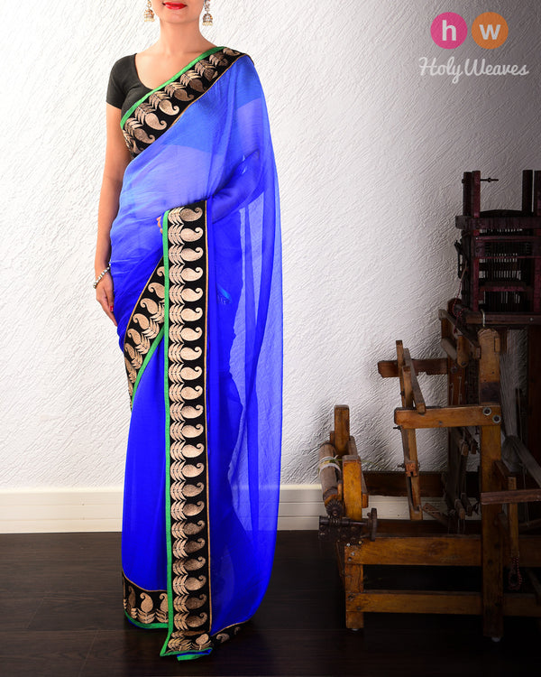 Blue Hand-embroidered Georgette Saree- HolyWeaves