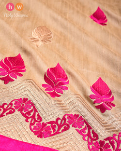 Beige Hand-embroidered Art Silk Saree- HolyWeaves