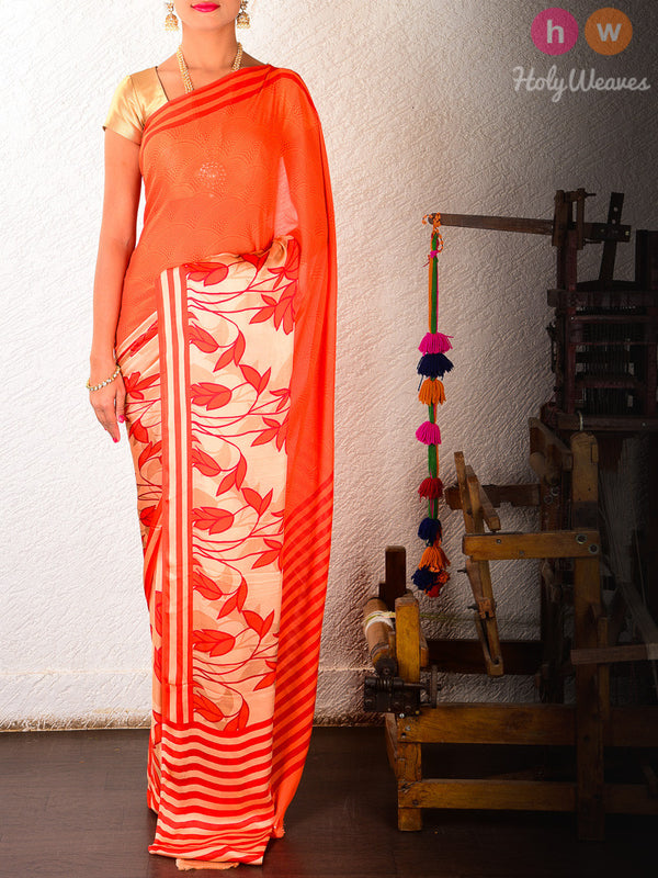Orange Art Silk  Printed Saree- HolyWeaves