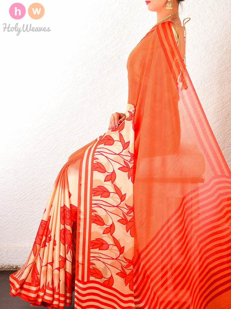 Orange Art Silk  Printed Saree - HolyWeaves