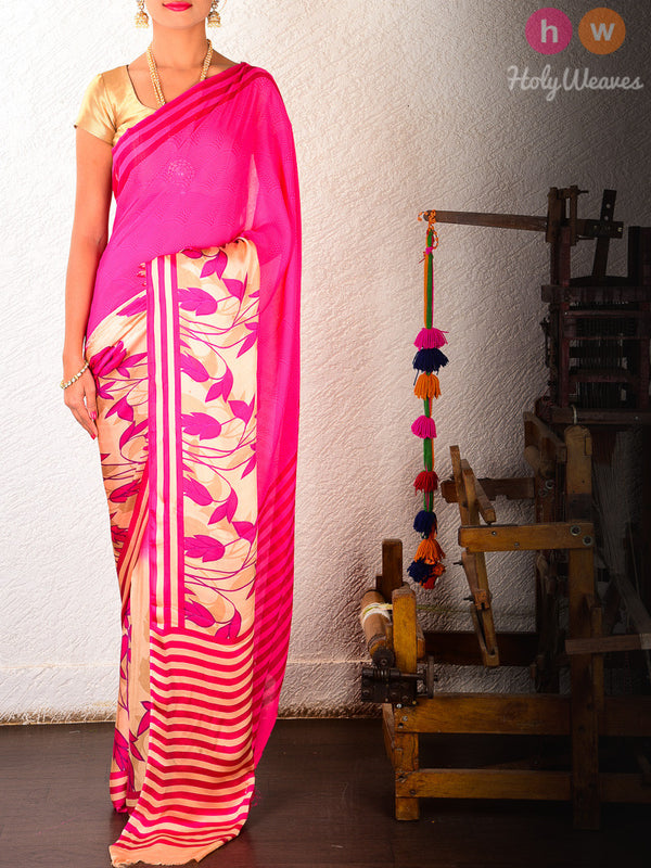 Pink Art Silk  Printed Saree- HolyWeaves