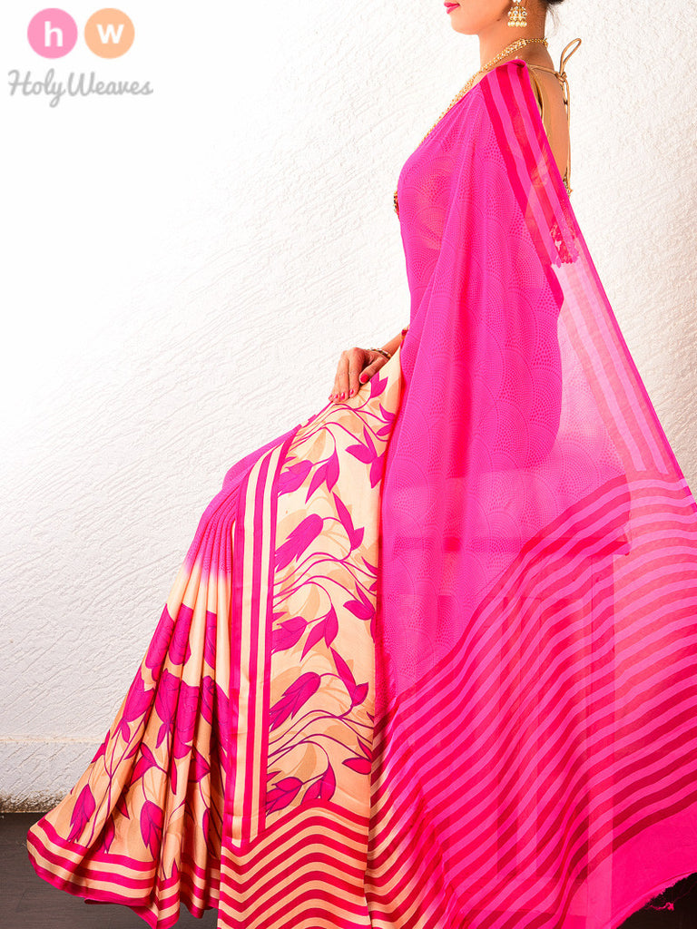 Pink Art Silk  Printed Saree