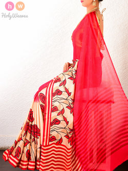 Red Art Silk  Printed Saree- HolyWeaves