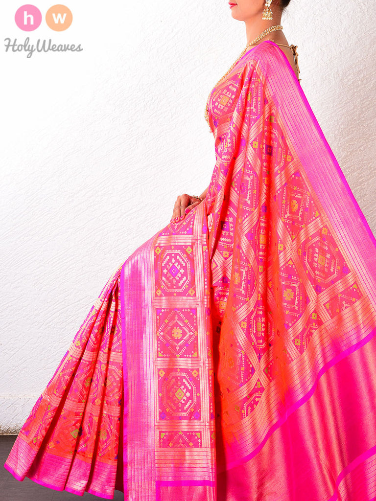 Pink Katan Silk Cutwork Brocade Handwoven Saree