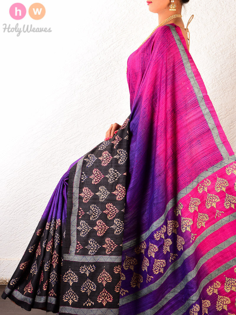 Purple Raw Silk Embroidered Saree - HolyWeaves