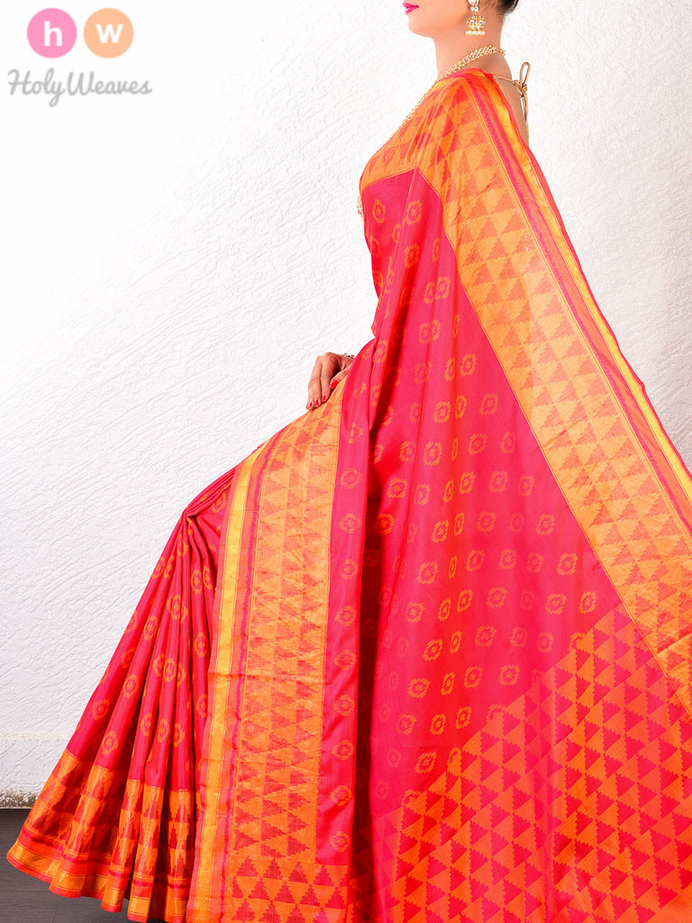 Red & Mustard Silk Geometric Patola Handwoven Saree - HolyWeaves