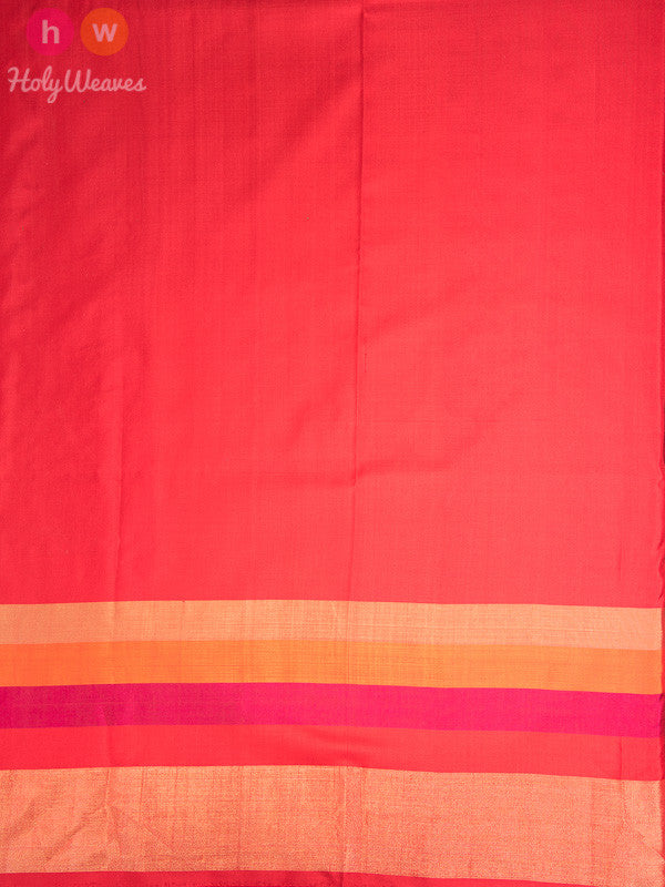 Cream-Red Handwoven Silk Pochampally Saree - HolyWeaves
