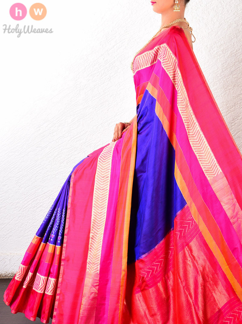 Purple- Blue Handwoven Silk Pochampally Saree- HolyWeaves