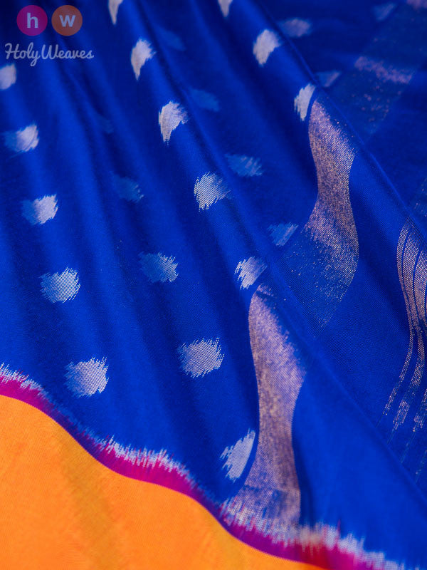 Blue Polka Premium Pochampally Handwoven Silk Saree - HolyWeaves