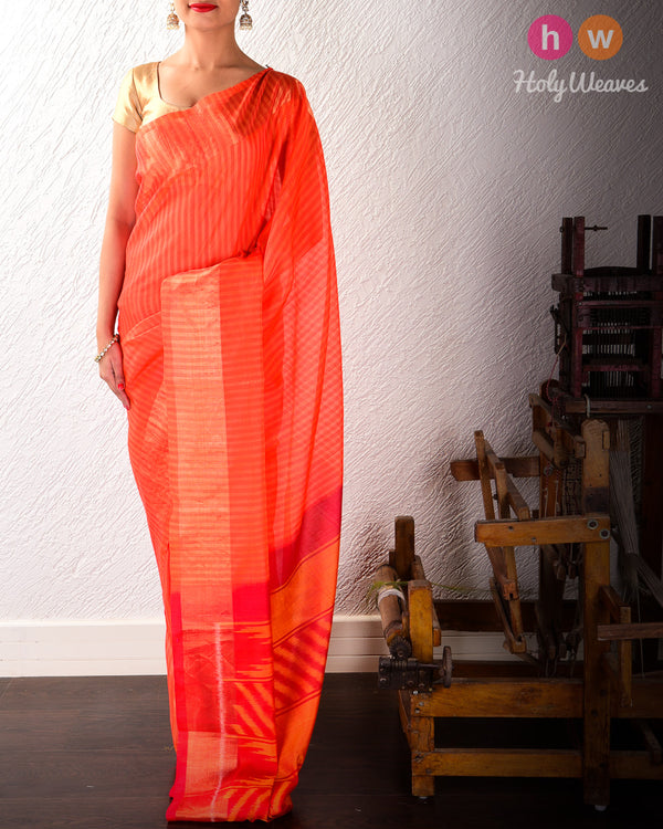 Orange Brocade Handwoven Cotton Silk Saree - HolyWeaves
