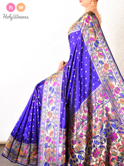 Purple- Royal Blue Paithani Handwoven Katan Silk Saree - HolyWeaves