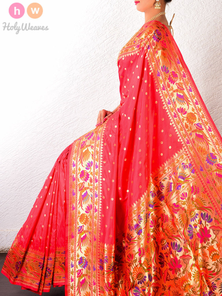 Red-Pink Silk Asawali Paithani Handwoven Saree