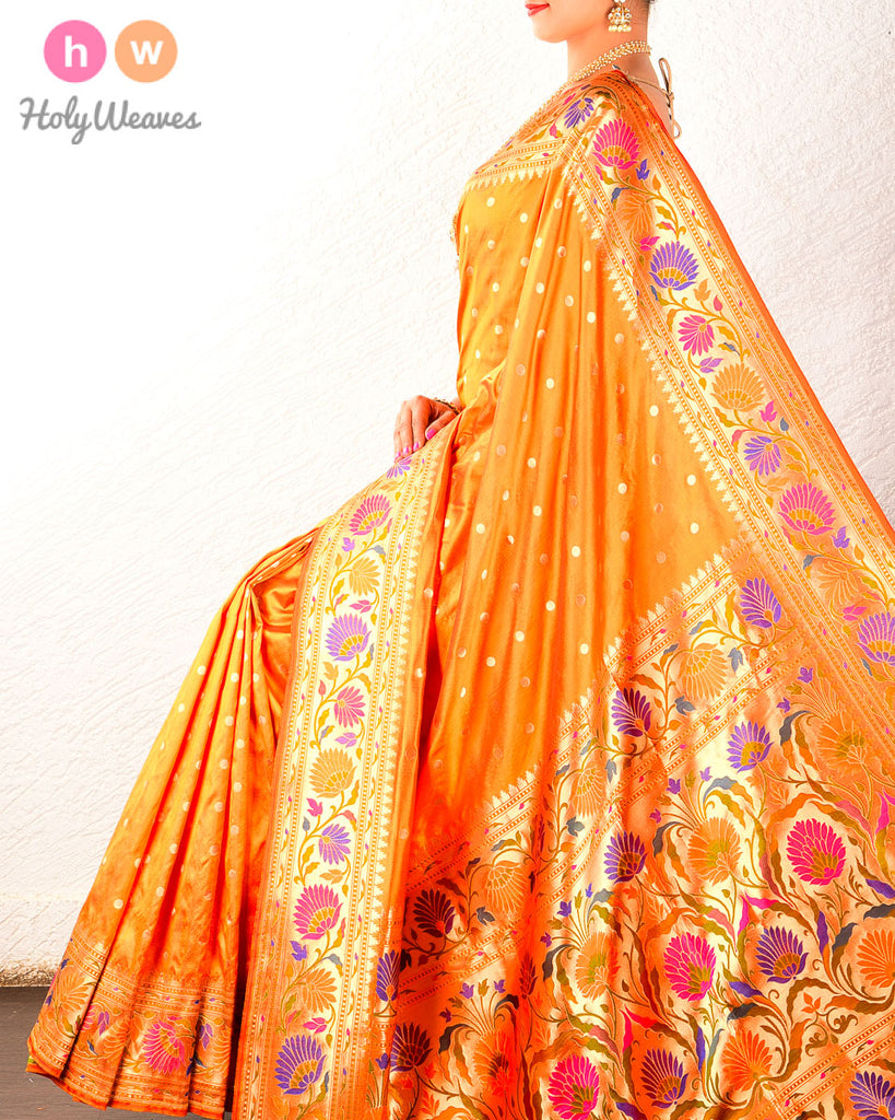 Orange Paithani Brocade Handwoven Katan Silk Saree