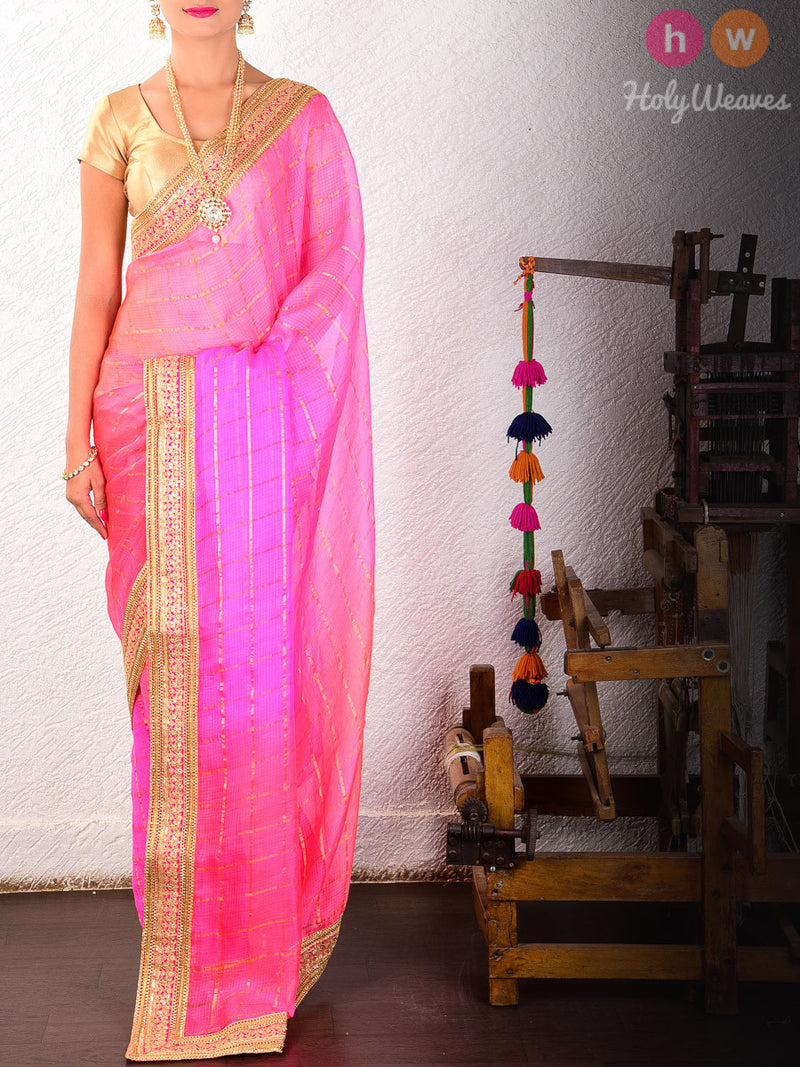 Pink Cotton Kota  Embroidered Saree - HolyWeaves