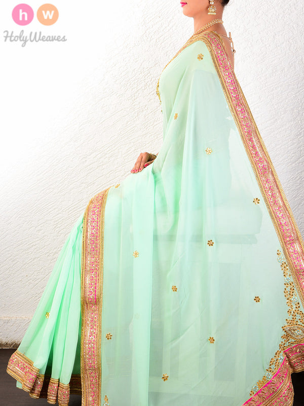 Green Georgette  Embroidered Saree - HolyWeaves