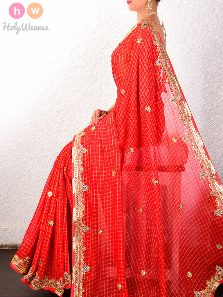 Red Georgette  Embroidered Saree - HolyWeaves