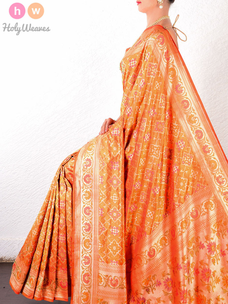 Orange Katan Silk Banarasi Cutwork Gharchola Tilfi Brocade Handwoven Saree - HolyWeaves