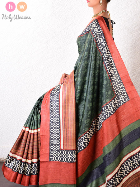 Green Tasar Silk   Printed Saree - HolyWeaves