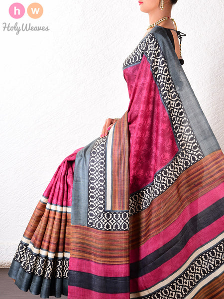 Magenta Tasar Silk   Printed Saree - HolyWeaves