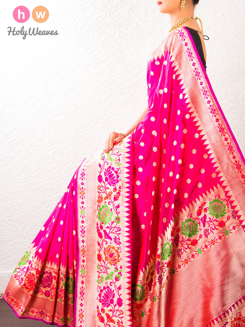 Pink Cutwork Brocade Handwoven Katan (कतान) Silk Saree with Paithani Border- HolyWeaves