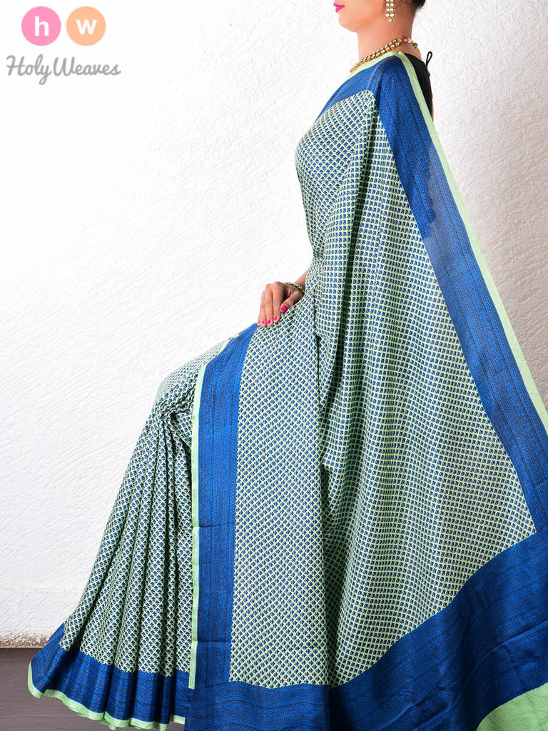 Green-Blue  Silk   Printed Saree - HolyWeaves
