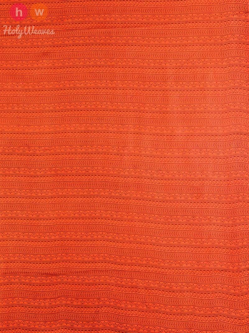Orange   Silk   Printed Saree - HolyWeaves
