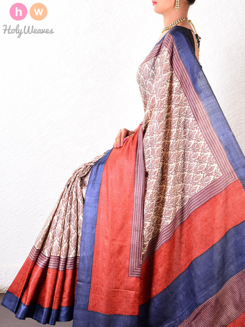 Beige-Orange Tasar Silk   Printed Saree - HolyWeaves