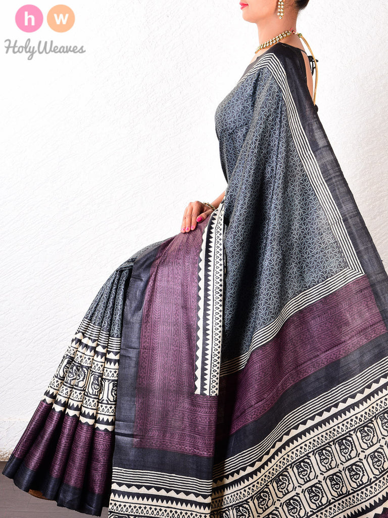 Black-Brown Tasar Silk   Printed Saree - HolyWeaves