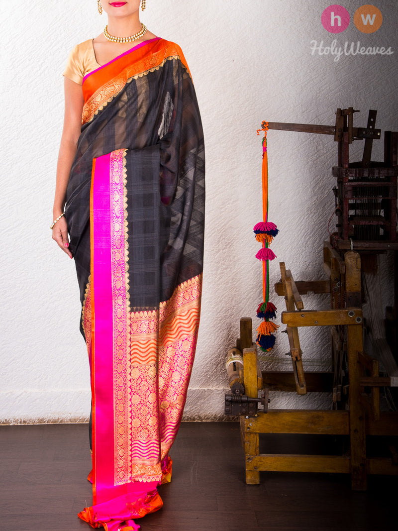 Black Kora (कोरा) Silk Cutwork Brocade Handwoven Saree with Brocade Blouse Piece - HolyWeaves