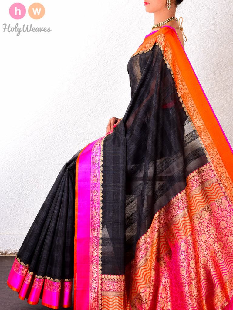 Black Kora Silk Cutwork Brocade Handwoven Saree - HolyWeaves