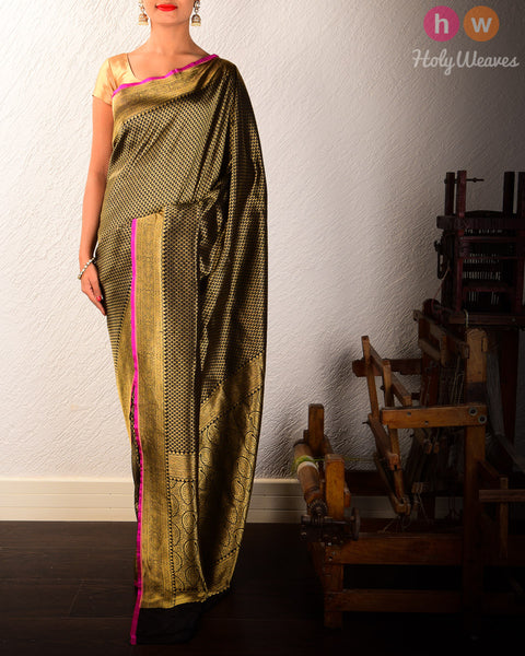 Black Banarasi Paisley Cutwork Brocade Handwoven Katan Silk Saree