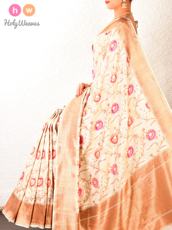 Cream Cutwork Brocade Handwoven Katan (कतान) Georgette Saree- HolyWeaves
