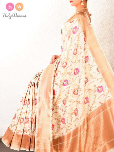 Cream Cutwork Brocade Handwoven Katan Georgette Saree - HolyWeaves
