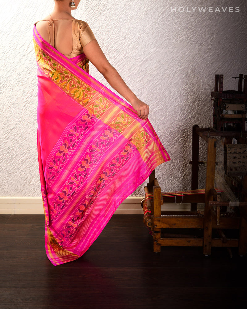 Shot Pink Patola Handwoven Silk Saree - HolyWeaves