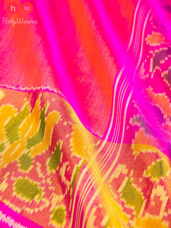 Pink Patola Handwoven Silk Saree- HolyWeaves