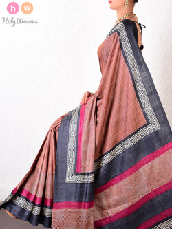 Brown Tasar Silk   Printed Saree- HolyWeaves