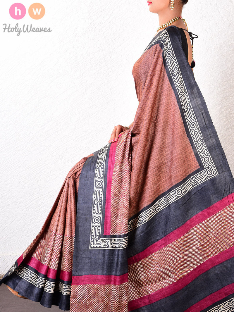 Brown Tasar Silk   Printed Saree - HolyWeaves