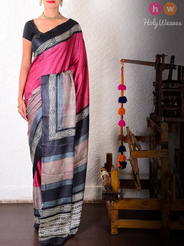 Magenta Tasar Silk   Printed Saree- HolyWeaves