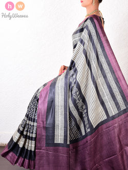 Grey-Mauve Tasar Silk   Printed Saree - HolyWeaves