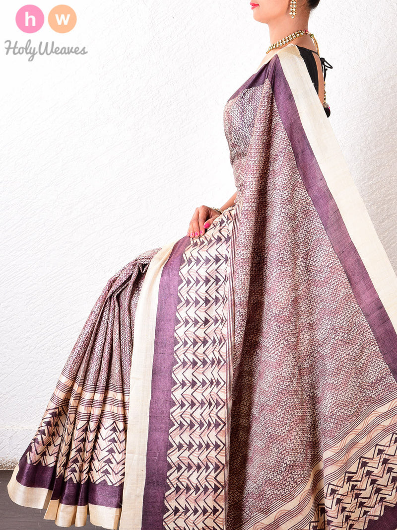 Beige-Purple Tasar Silk   Printed Saree - HolyWeaves