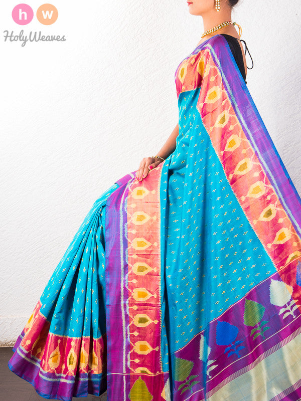 Blue Patola Handwoven Silk Saree- HolyWeaves